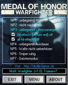 Medal of Honor: Warfighter Trainer +7 v1.0 {dR.oLLe}