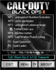 Call of Duty: Black Ops 2 Trainer +6 v1.0 {dR.oLLe}