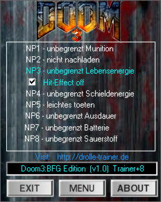 Doom 3 BFG Edition Trainer +8 v1.0 {dR.oLLe}