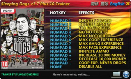 Sleeping Dogs Trainer +10 v1.7 {FLiNG}