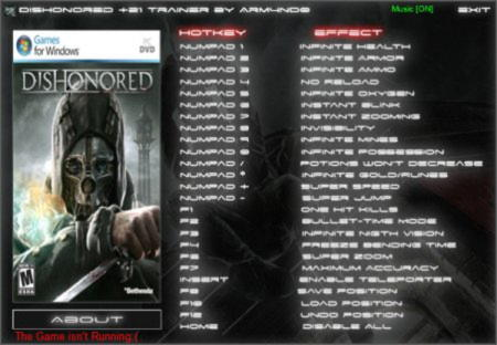 Dishonored Trainer +21 v1.0 {ARM4ND0}