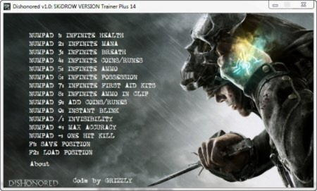 Dishonored Trainer +14 v1.0 {GRIZZLY}