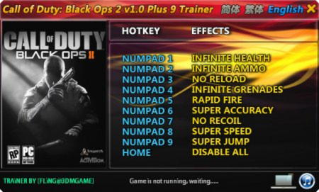 Call of Duty: Black Ops 2 Trainer +9 v1.0 {FLiNG}