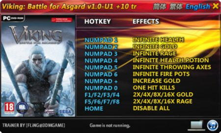Viking: Battle for Asgard Trainer +10 v1.0 {FLiNG}