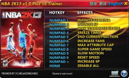NBA 2K13 Trainer +10 v1.0 {FLiNG}