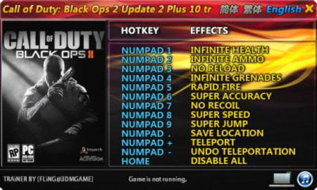 Call of Duty: Black Ops 2 Trainer +10 Up2 {FLiNG}