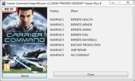 Carrier Command: Gaea Mission Trainer +8 v1.2.0034 {GRIZZLY}