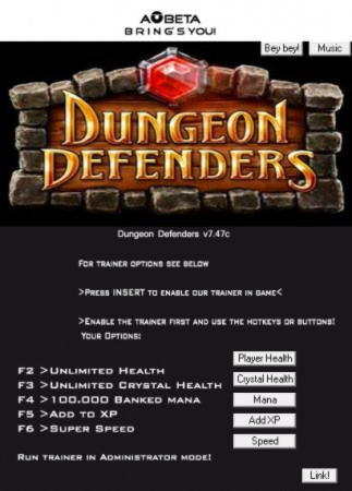 Dungeon Defenders Trainer +5 v7.47c {Linus AOBETA}