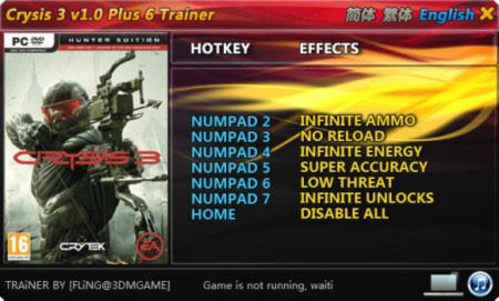 Crysis 3 Trainer +6 v1.0 {FLiNG}