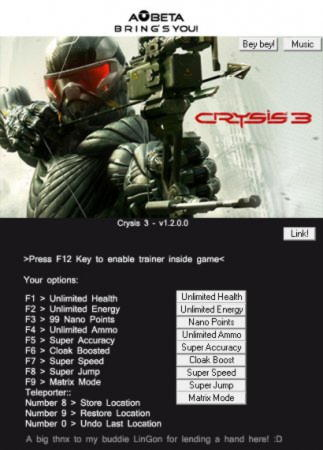 Crysis 3 Trainer +11 v1.2.0.0 {AOBETA}