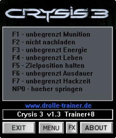 Crysis 3 Trainer +8 v1.3 {dR.oLLe}