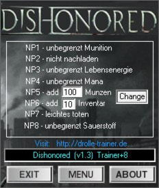 Dishonored: The Knife of Dunwall Trainer +8 v1.3 Up3 {dR.oLLe}