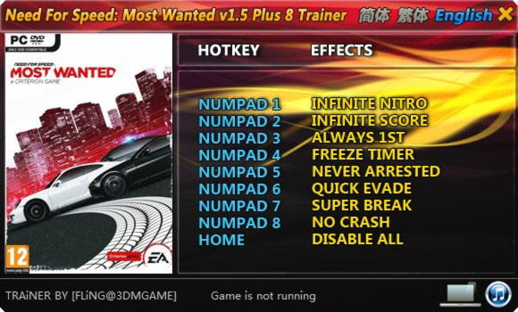 Need For Speed Most Wanted Unlock All Cars Trainer