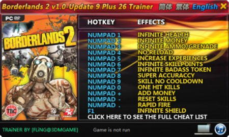 Borderlands 2 Trainer +26 v1.0 Up9 {FLiNG}
