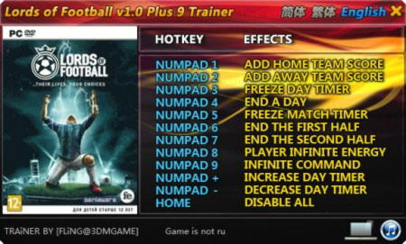 Lords of Football Trainer +9 v1.0 {FLiNG}