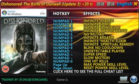 Dishonored: The Knife of Dunwall Trainer +20 v1.3 Up3 {FLiNG}