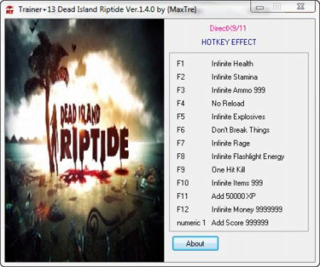 Dead Island: Riptide Trainer +13 v1.4.0 {MaxTre}
