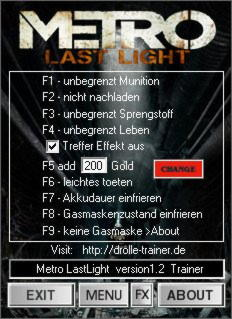 Metro: Last Light Trainer +9 v1.0 / 1.0.0.2 {dR.oLLe}