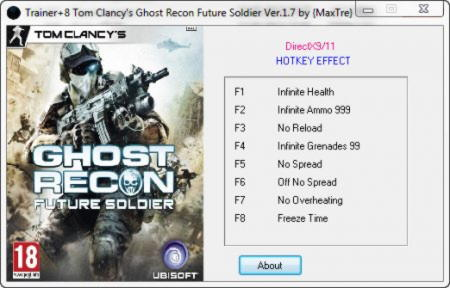 Tom Clancy's: Ghost Recon Future Soldier Trainer +8 v1.7 {MaxTre}