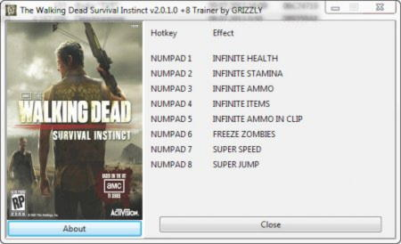 The Walking Dead: Survival Instincts Trainer +8 v2.0.1.0 {GRIZZLY}