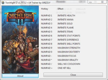 Torchlight 2 Trainer +14 v1.25.5.2 {GRIZZLY}