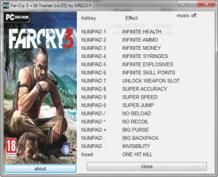 Far Cry 3 Trainer +16 v1.05 {GRIZZLY}