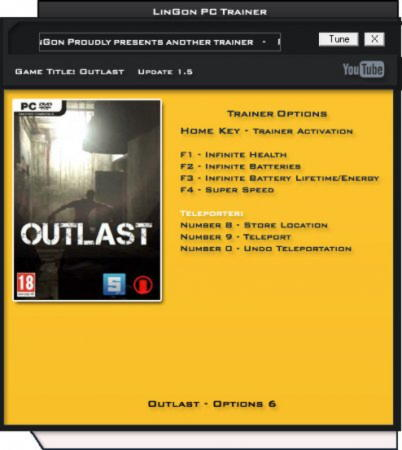 Outlast Trainer +6 v1.5 {LinGon}