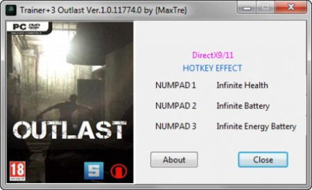 Outlast Trainer +3 v1.0.11774.0 {MaxTre}