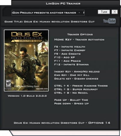 Deus Ex: Human Revolution Directors Cut Trainer +14 v1.0 Build 2.0.0.0 {LinGon}