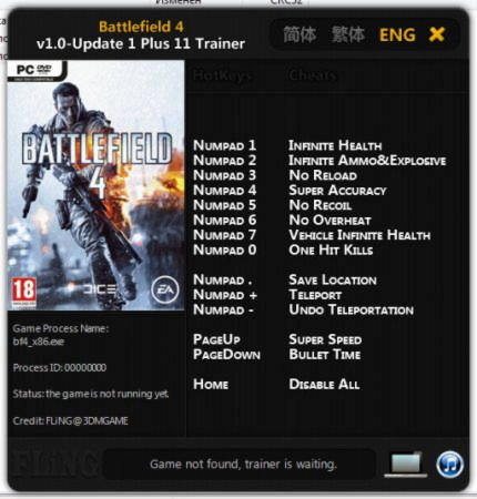 Battlefield 4 Trainer +11 v1.0 Up1 {FLiNG}