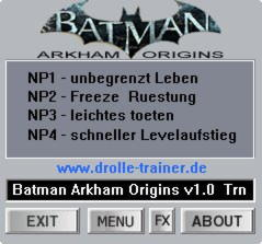 Batman: Arkham Origins Trainer +4 v1.0 {dR.oLLe}