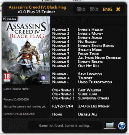 Assassin's Creed 4: Black Flag Trainer +15 v1.0 {FLiNG}