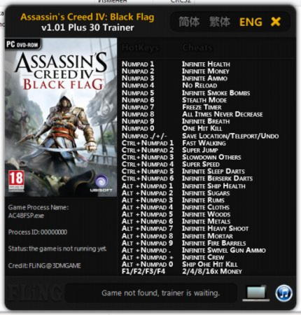 Assassin's Creed 4: Black Flag Trainer +30 v1.01 {FLiNG}