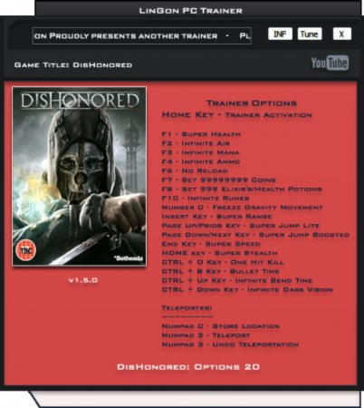 Dishonored Trainer +20 v1.5 Up5 {LinGon}