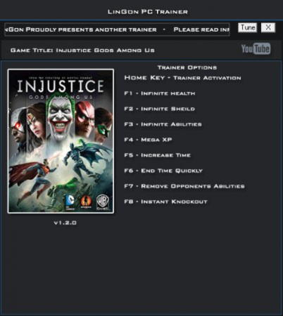 Injustice: Gods Among Us Trainer +8 v1.2.0 {LinGon}
