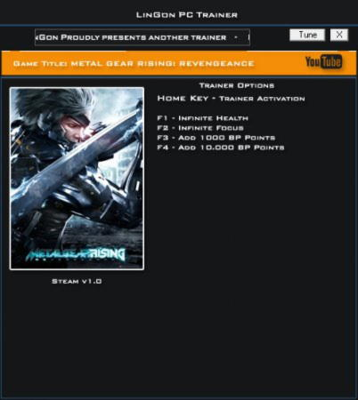 Metal Gear Rising: Revengeance Trainer +4 v1.0 {LinGon}