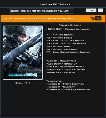 Metal Gear Rising: Revengeance Trainer +14 v1.1 {LinGon}