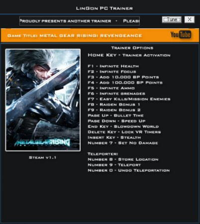 Metal Gear Rising: Revengeance Trainer +17 v1.1 {LinGon}