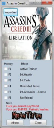 Assassin's Creed: Liberation HD Trainer +6 v1.0 {MrAntiFun}