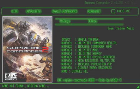 Supreme Commander 2 Trainer +8 v1.250 {h4x0r}