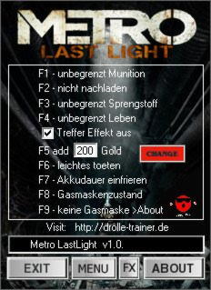 Metro: Last Light Trainer +9 v1.0.0.4 {dR.oLLe}