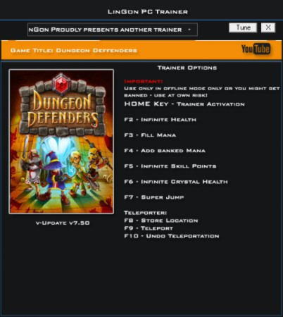 Dungeon Defenders Trainer +8 v7.50 {LinGon}
