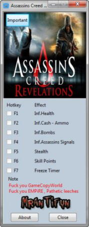 Assassin's Creed: Revelations Trainer +7 v1.2.2.0 {MrAntiFun}