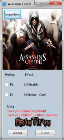 Assassin's Creed 2 Trainer +3 v1.0 {MrAntiFun}