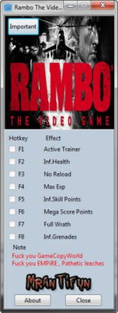 Rambo: The Video Game Trainer +7 v1.0.2.0 {MrAntiFun}
