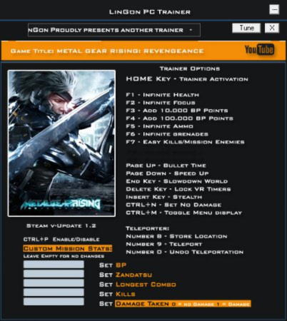 Metal Gear Rising: Revengeance Trainer +21 v1.2 {LinGon}