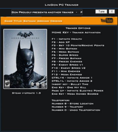 Batman: Arkham Origins Trainer +20 v1.9 Update 9 {LinGon}