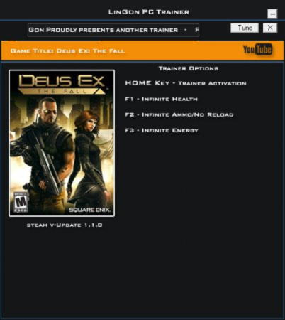 Deus Ex: The Fall Trainer +3 v1.1 {LinGon}