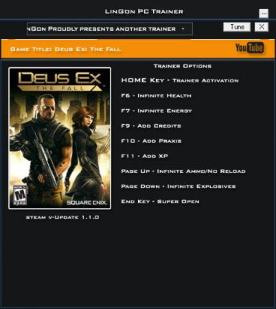 Deus Ex: The Fall Trainer +8 v1.1 {LinGon}