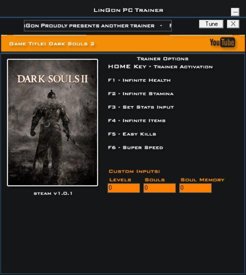 Dark Souls 2 Trainer +8 v1 0 1 LinGon - download cheats, codes, trainers